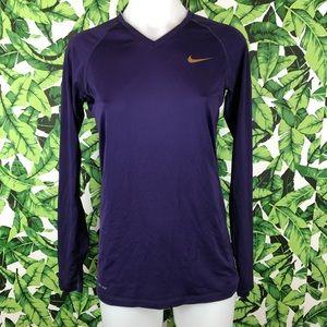 5 for $25 Nike Pro Combat Purple VNeck Long Sleeve